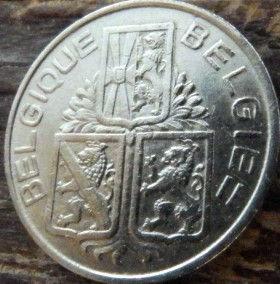 1 Франк, 1939 года, Королевство Бельгия, Монета, Монеты, 1 Franc 1939, Belgium, Belgique, Belgie,Фауна, Лев, Lion.