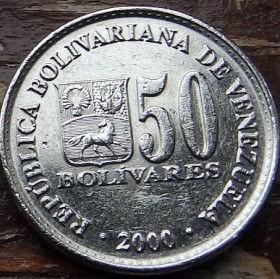 50 Боливаров,2000 года, Венесуэла, Монета, Монеты, 50 Bolivares 2000, Republica Bolivariana de Venezuela,Coat of arms of Venezuela,Герб Венесуэлына монете,SimonBolivar,Симон Боливарна монете.