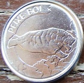 100 Крузейро,1992 года, Бразилия, Монета, Монеты, 100 Cruzeiros 1992, Brasil, Fauna,Manatee,Фауна,Ламантинна монете.