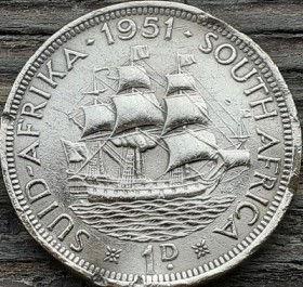 1 Пенни, 1951 года,ЮАР, Монета, Монеты, 1 Penny 1951,South Africa, Suid-Afrika,Море, Sea, Ship,Корабль на монете,КорольGeorgivs VI, Георг VIна монете.