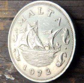 10 Центов, 1972 года, Мальта, Монета, Монеты, 10 Cents 1972, Malta,Рослинний орнамент,растительный орнамент,floral ornamentна монете,Fauna, Фауна,Fish, Рыба, Ship,Корабльна монете.