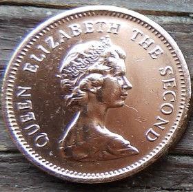 1/2 Пенни, 1971 года, Джерси, Монета, Монеты, 1/2 Half New Penny 1971, Jersey,Coat of Arms,Герб,Fauna, Фауна,Lions, Львы на монете,Королева Elizabeth II, Елизавета IIна монете, Второй портрет королевы.