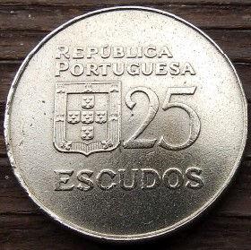 25 Эскудо, 1977 года, Португалия, Монета, Монеты, 25 Escudos 1977, Republica Portuguesa,Portugal,Coat of Arms, Герб на монете,Woman with olive branch in her hair,Женщина с оливковой ветвью в волосахна монете.