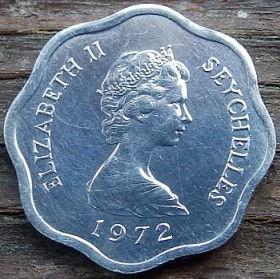 5 Центов, 1972 года, Сейшельские Острова, Монета, Монеты, 5 Five Cents 1972, Seychelles, FAO, ФАО,Flora, Cabbage, Флора, Капустана монете, Королева Elizabeth II, Елизавета IIна монете, Второй портрет королевы.