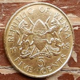 5 Центов, 1968 года, Кения,Монета, Монеты, 5 Five Cents 1968, Republic of Kenya,Coat of arms of Kenya,Герб Кении на монете, First President of Kenya Jomo Kenyatta,Первый президент Кении Джомо Кениата на монете.