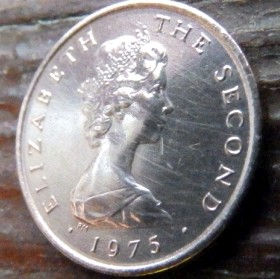 1/2 Пенни, 1975года, Остров Мэн, Монета, Монеты, 1/2 HalfNew Penny 1975, Isle of Man,Флора, Flora,Квітка,Flower,Цветокна монете,Королева Elizabeth II, Елизавета IIна монете, Второй портрет королевы.