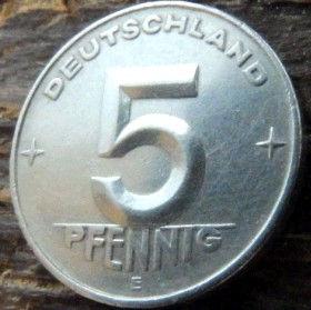 5 Пфеннигов,1953 года, ГДР, Германия, Німеччина,Монета, Монеты, 5 Pfennig 1953, Deutschland,Spikelets, Колоски,Hammer, Молоток на монете.