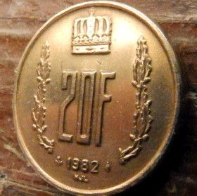 20 Франков, 1982 года, Герцогство Люксембург, Монета, Монеты, 20 Franks1982, Letzeburg, Luxembourg,Рослинний орнамент,растительный орнамент,floral ornament,Корона, Crownна монете,Великий герцог Жан на монете.