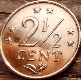 2½Цента, 1974 года, Нидерландские Антильские острова, Монета, Монеты, 2½Сents 1974, Nederlandse Antillen,Зірки, Stars,Звездына монете,Корона, Crown, Coat of arms of the Netherlands Antilles,Герб Нидерландских Антильских острововна монете.