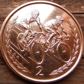 2 Пенса, 1996 года, Остров Мэн, Монета, Монеты, 2 TwoPence 1996, Isle of Man,Рослинний орнамент,растительный орнамент,floral ornament, Cyclists,Велосипедистына монете,Королева Elizabeth II, Елизавета IIна монете, Третий портрет королевы.