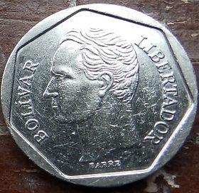 100 Боливаров,1998 года, Венесуэла, Монета, Монеты, 100 Bolivares 1998, Republica de Venezuela,Coat of arms of Venezuela,Герб Венесуэлына монете,SimonBolivar,Симон Боливарна монете.