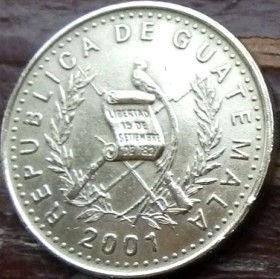 50 Сентаво, 2001 года,Гватемала, Монета, Монеты, 50 Centavos 2001,Republica de Guatemala,Флора, Квітка, Орхідея, Flora, Flower, Orchid, Флора, Цветок, Орхидеяна монете, Coat of arms ofGuatemala, Эмблема Гватемалына монете.