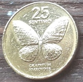 25 Сентимов, 1994 года, Филиппины,Монета, Монеты, 25 Sentimo 1994,Republika ng Pilipinas,Fauna, Butterfly,Фауна, Бабочка на монете,Juan Luna, Хуан Лунана монете.