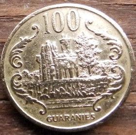 100 Гуарани,1990 года, Парагвай, Монета, Монеты, 100 Guaranies1990, Republica Del Paraguay, Руїни фортеці Умайта, Ruins of the Umayta fortress, Руины крепости Умайтана монете,Jose Eduvigis Diaz, Хосе Эдувихис Диасна монете.