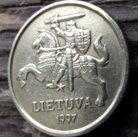 10 Центов, 1998 года, Литва, Монета, Монеты, 10 Centu2008, Lietuva, Coat of Arms,Герб,Воїн на коні,Warrior on horseback,Воин на конена монете.