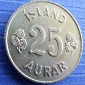 25 Эйре, 1965 года, Исландия, Монета, Монеты, 25 aurar1965, Island,Iceland, Flora,Флора,Листя, Leaf, Листья на монете, Герб,Coat of arms,Рослинний орнамент,растительный орнамент,floral ornamentна монете.