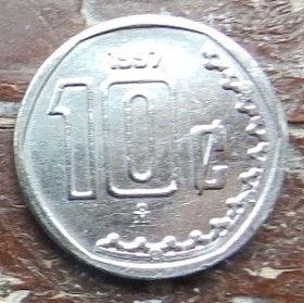 10 Сентаво, 1997 года,Мексика, Монета, Монеты, 10 Centavos 1997,Estados Unidos Mexicanos, Coat of arms of Mexico, Герб Мексикина монете.