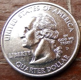 1/4 Доллара, 2001 года,Соединенные Штаты Америки, Монета, Монеты, Quarter Dollar2001,The United States of America,North Carolina, Северная Каролина, The first flight on an airplane,Первый полет на самолетена монете, President George Washington, Президент Джордж Вашингтонна монете.