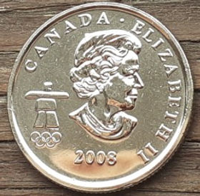 25 Центов, 2008 года,Канада, Монета, Монеты, 25 Cents 2008, Canada,Спорт, Фристайл, Олімпіада Ванкувер, Sports, Freestyle, Vancouver Olympics, Спорт, Фристайл, Олимпиада Ванкувер на монете, Королева Elizabeth II, Елизавета IIна монете, Четвертый портрет королевы.