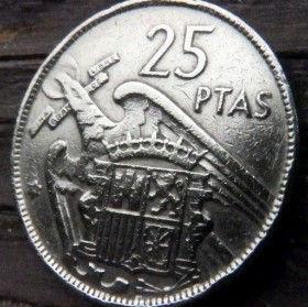 25Песет, 1957 года, Испания, Монета, Монеты, 25 Pesetas 1957, Espana,Spain,Герб,Фауна, Bird,Птица, Eagle,Орел,Корона, Crown, Lion,Лев на монете,Франсиско Франко на монете.