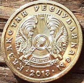 1 Тенге, 2013 года,Казахстан, Монета, Монеты, 1 Tenge 2013, Republicof Kazakhstan,Ornament, Орнаментна монете,Emblem of Kazakhstan,Герб Казахстана на монете.