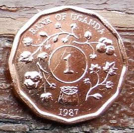 1 Шиллинг, 1987 года, Уганда,Монета, Монеты, 1 One Shilling 1987, Uganda,Рослинний орнамент,Растительный орнамент,Floral ornament на монете, Coat of arms of Uganda,Герб Угандына монете.