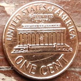 1 Цент, 1965 года,Соединенные Штаты Америки, Монета, Монеты, 1 One Cent 1965,The United States of America,Lincoln Memorial, Мемориал Линкольнана монете, President Abraham Lincoln, Президент Авраам Линкольнна монете.