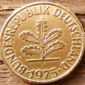 10 Пфеннигов,1980 года, ФРГ, Германия, Німеччина,Монета, Монеты, 10 Pfennig 1994, BUNDESREPUBLIK DEUTSCHLAND,Spikelets, Колоскина монете,Дубовые листья на монете.
