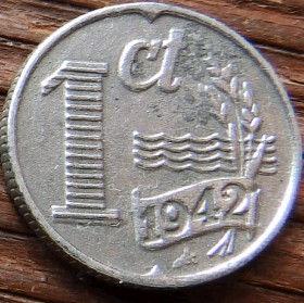 1 Цент, 1942 года, Нидерланды, Монета, Монеты, 1Сent1942, NEDERLAND, Spikelets, Колоскина монете, Cross, Крестна монете.