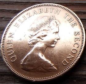 2 Пенса, 1987 года, Фолклендские Острова, Монета, Монеты, 2 Pence 1987, Falkland Islands,Фауна, Птах,Магеланів гусак, Fauna, Bird,Magellan goose, Фауна,Птица,Магелланов гусь на монете,Королева Elizabeth II, Елизавета IIна монете, Второй портрет королевы.