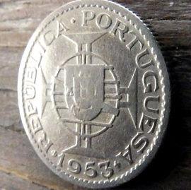 2,50 Эскудо, 1953 года, Мозамбик,Монета, Монеты, 2,50 Escudos 1953, Mocambique,Coat of arms of Portuguese Mozambique,Герб Португальского Мозамбикана монете.