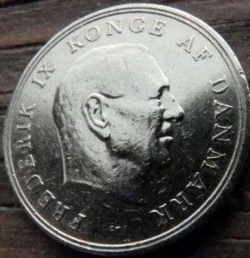 1 Крона, 1962 года, Дания, Монета, Монеты, 1 Krone 1962, Danmark,Crown,Корона, Герб, Lion, Лев на монете,КорольФредерик IX на монете.