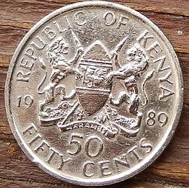 50 Центов, 1989 года, Кения,Монета, Монеты, 50 Fifty Cents 1989, Republic of Kenya,Coat of arms of Kenya,Герб Кении на монете, President of Kenya Daniel Toroitich Arap Moi,Президент Кении ДаниэльАрап Мои на монете.