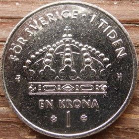 1 Крона, 2004 года, Швеция, Монета, Монеты, 1 Krona2004, Sverige, Sweden,Crown,Коронана монете,КорольКарлXVI Густавна монете.