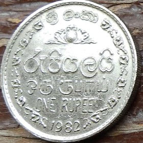 1 Рупия, 1982 года,Шри-Ланка, Монета, Монеты, 1One Rupee1982, Sri Lanka,Ornament,Орнамент на монете,Emblem of Sri Lanka,Герб Шри-Ланки на монете.