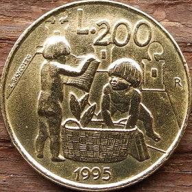 200 Лир, 1995 года, Сан-Марино, Монета, Монеты, L.200, 200 Lire 1995, Republica Di San Marino, Діти, Children, Дети на монете, Пір'я, Feathers, Перья на монете.