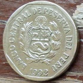 1Новый Соль,1992 года, Перу, Монета, Монеты, 1 Un Nuevo Sol1992, Peru,Braille,Шрифт Брайля, Рослинний орнамент,Floral ornament,Растительный орнаментна монете,Coat of arms of Peru,Герб Перу на монете.