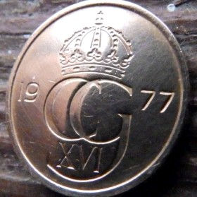 5 Эре, 1977 года, Швеция, Монета, Монеты, 5 Ore 1977, Sverige, Sweden,Crown,Корона, Monogram, ВензельКороляКарлаXVI Густава на монете.