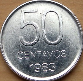 50 Сентаво, 1983 года, Аргентина, Монета, Монеты, 50 Centavos 1983, Republica Argentina,Дівчина,Girl, Девушка на монете.