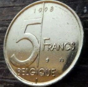 5 Франков, 1998 года, Королевство Бельгия, Монета, Монеты, 5 Francs 1998, Belgium, Belgique, Belgie,КорольАльбертIIна монете.