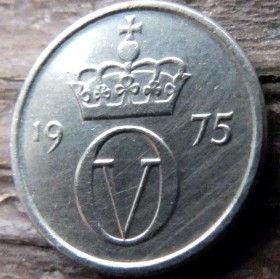 10 Эре, 1975 года, Норвегия, Монета, Монеты, 10 Ore 1975, Norge,Crown,Корона, Monogram,ВензельКороляОлафа V на монете.