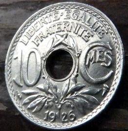 10 Сантимов, 1926 года, Франция,Монета, Монеты, 10 Centimes 1926,RepubliqueFrancaise, France,Helmet,Шлем, Рослинний орнамент,растительный орнамент,floral ornament на монете.