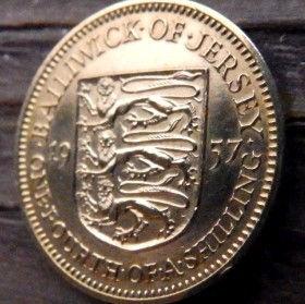 1/4 Шиллинга, 1957 года, Джерси, Монета, Монеты, One Fourth of a Shilling 1957, Jersey,Coat of Arms,Герб,Fauna, Фауна,Lions, Львы на монете,Королева Elizabeth II, Елизавета IIна монете, Второй портрет королевы.