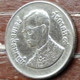 1 Бат, 1982 года, Королевство Таиланд, Монета, Монеты, 1 Bat 1982, Kingdom of Thailand, Grand Palace, Большой дворец на монете, King Rama IX, Король Рама IX на монете.