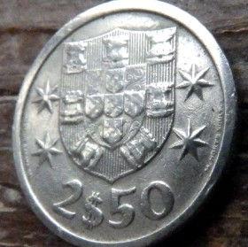 2,50 Эскудо, 1969года, Португалия, Монета, Монеты, 2,50 Escudo 1969, Republica Portuguesa,Portugal, Coat of Arms,Гербна монете, Ship,Корабль на монете.