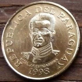50 Гуарани,1998 года, Парагвай, Монета, Монеты, 50 Guaranies1998, Republica Del Paraguay, Гребля, Електростанція, Dam, Power plant, Плотина, Электростанцияна монете,Jose Felix Estigarribia, Хосе Феликс Эстигаррибияна монете.