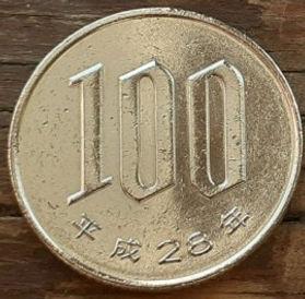 100 Йен, 2016 года, Япония, Монета, Монеты, 100 Yen 2016, Japan, Флора, Квіти Сакури, Flora, Sakura flowers,Флора, Цветы сакурына монете.