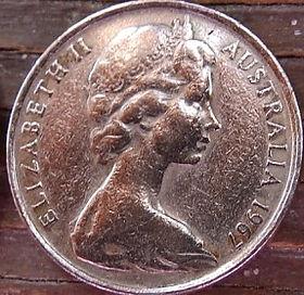 10 Центов, 1967 года,Австралия, Монета, Монеты, 10 Cents1967, Australia,Lyrebird,Лирохвост на монете, Королева Elizabeth II, Елизавета IIна монете, Второй портрет королевы.