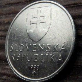 5Крон, 1993года,Словакия,Монета, Монеты,5 Krones 1993, Slovenska Republika,Biatek type tetradrachm, Тетрадрахма типа Биатекна монете, Coat of Arms, Гербна монете.