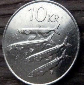 10 Крон, 1984 года, Исландия, Монета, Монеты, 10 Tiu Kronur 1984, Island,Iceland, Fauna,Фауна,Риби, Fishes, Рыбына монете,Bull, Бык,Vulture,Гриф,Dragon, Дракон,Giant, Великан на монете.
